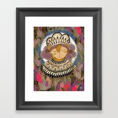 Regal Cat Lady of the Fall Harvest Moon Framed Art Print