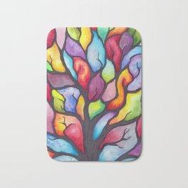 Watercolor Mosaic Tree Bath Mat