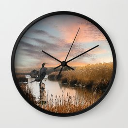 Sunset in the Wetlands Wall Clock