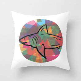 Stained Glass Iris Throw Pillow