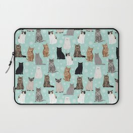 Cat snowflakes catsmas winter holiday pattern print pet portraits cat breed gifts Laptop Sleeve