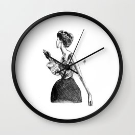 Cigarette Girl with Bow Dress Wall Clock