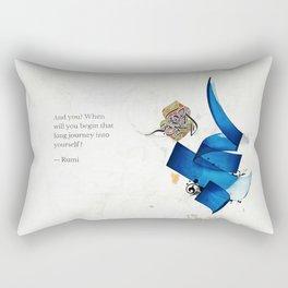 Arabic Calligraphy - Rumi - Journey Into Self Rectangular Pillow