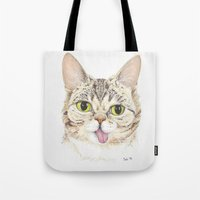 lil bub Tote Bags featuring Lil Bub by ItsSabbyG