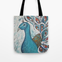 Blue Peacock with Blue Tote Bag