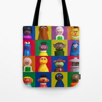 sesame street Tote Bags featuring Action Figure Grid: Sesame Street by CantinaDanny