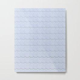 Serenity Blue Faux Lace Metal Print