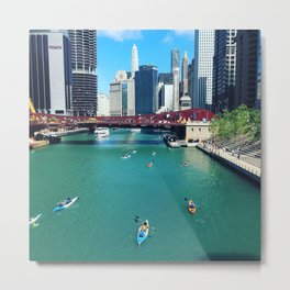 Chicago River Kayaks Metal Print
