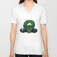slytherin V-neck T-shirts featuring Slytherin by Clair C