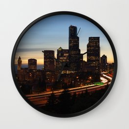 Seattle Skyline Sunset City Wall Clock