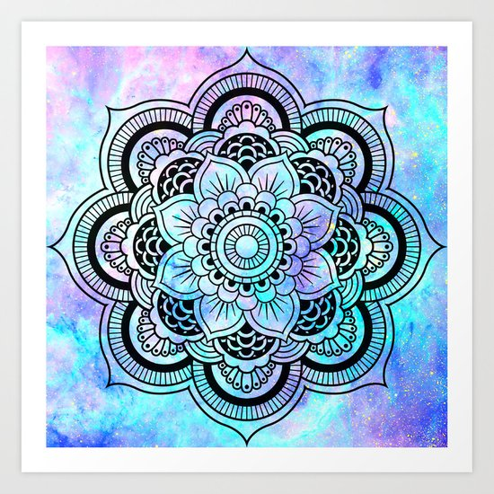mandala pink lavender aqua galaxy space art print by 2sweet4words designs society6. Black Bedroom Furniture Sets. Home Design Ideas