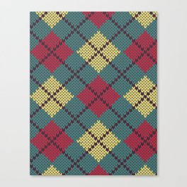 Faux Retro Argyle Knit Canvas Print