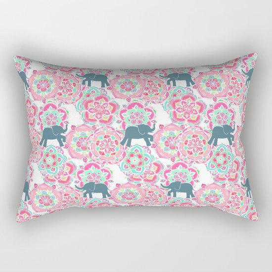Tiny Elephants in Fields of Flowers Rectangular Pillow
