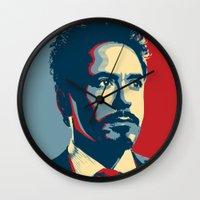 tony stark Wall Clocks featuring Tony Stark by Cadies Graphic