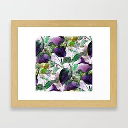 Hosta and English Ivy - Seamless - Vintage Colors Framed Art Print