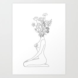 Minimal Line Bloom Art Print