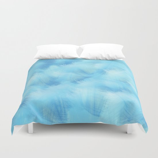 Heavenly Blue Feathers and Fluff Abstract Duvet Cover
