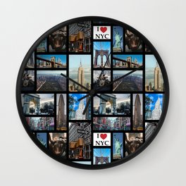 65 MCMLXV New York City By Day Postcard Collage Pattern Wall Clock