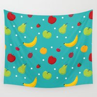 fruits Wall Tapestries featuring fruits by Klim
