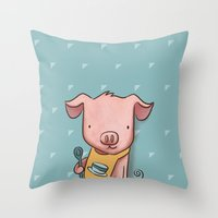 piglet Throw Pillows featuring Hungry Piglet by Hop & Flop