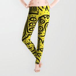 Yellow Graffiti Street Art Posca  Leggings