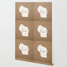 Wisconsin is Home - White on Burlap Wallpaper