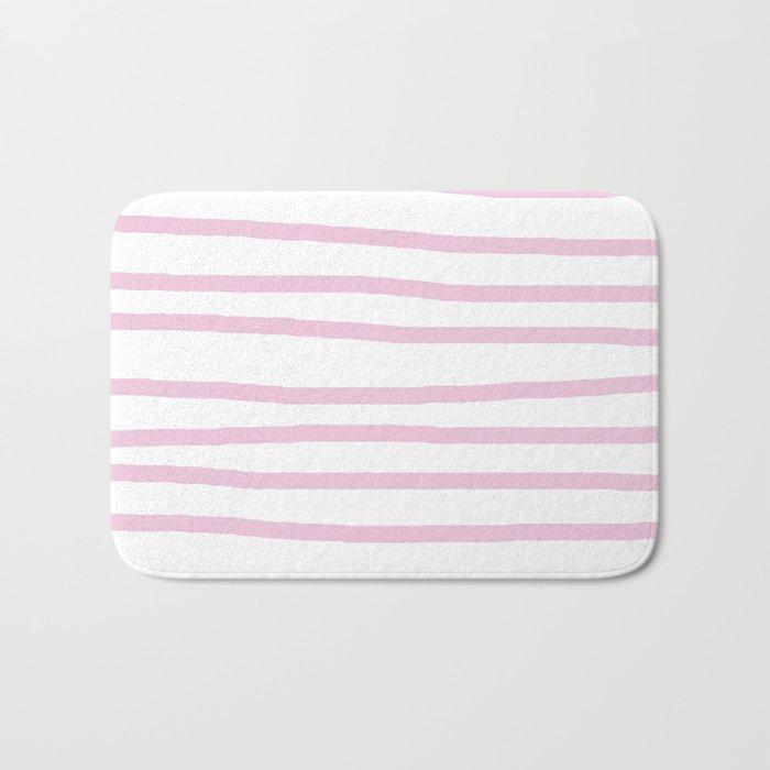 Simply Drawn Stripes in Blush Pink on White Bath Mat