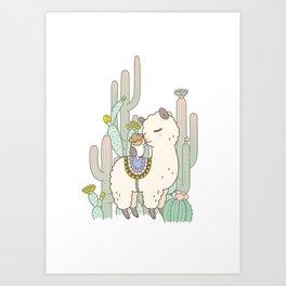 Alpaca Kiss Art Print