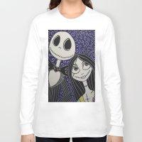jack skellington Long Sleeve T-shirts featuring Jack Skellington and Sally by KittyOG