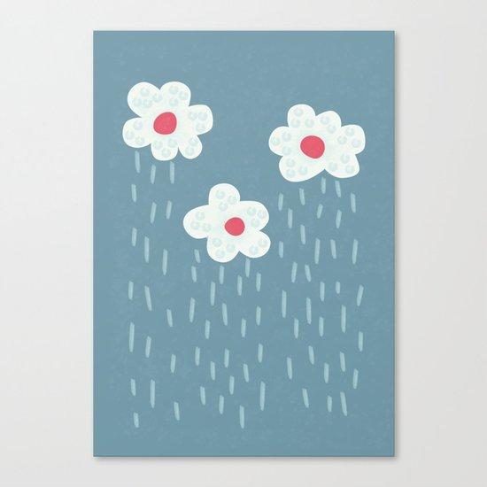 Rainy Flowery Clouds Canvas Print