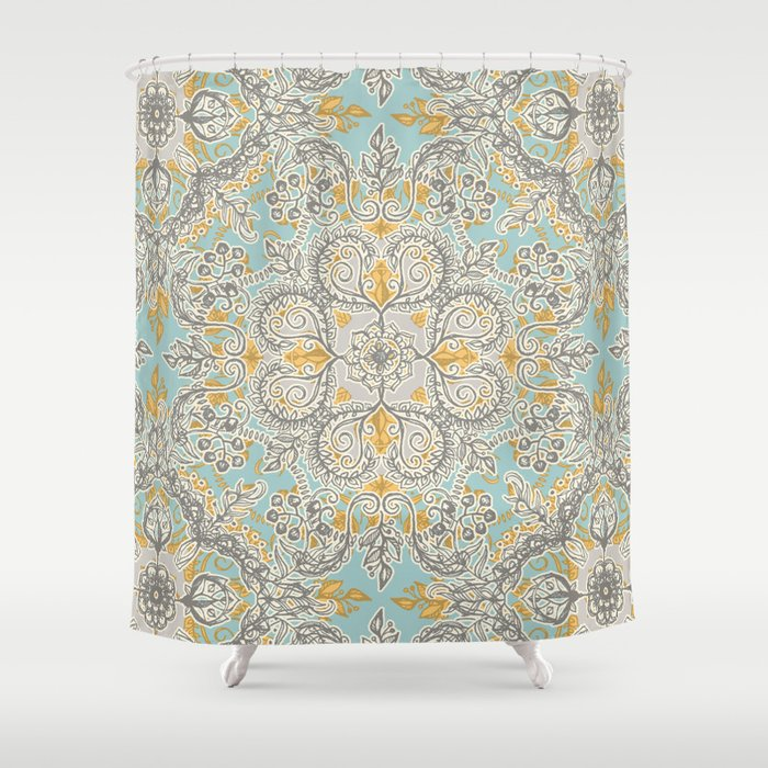 Gypsy Floral In Soft Neutrals Grey Yellow On Sage Shower Curtain