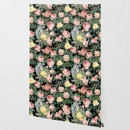 Vintage Roses and Iris Pattern - Dark Dreams Wallpaper