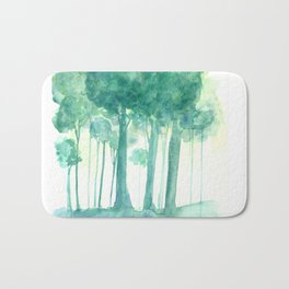 Rainy Woods Trees Forest Watercolor Painting Bath Mat