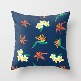 Exotic Florals Blue Throw Pillow
