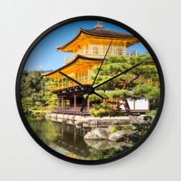 Side View of the Golden Pavilion in Kyoto, Japan. Wall Clock