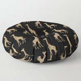 Black Gold Glitter Giraffe Pattern Floor Pillow