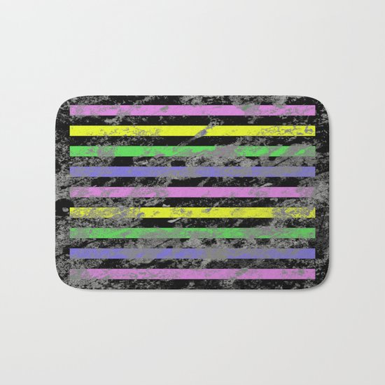 Linear Breakthrough - Abstract, geometric, textured artwork Bath Mat