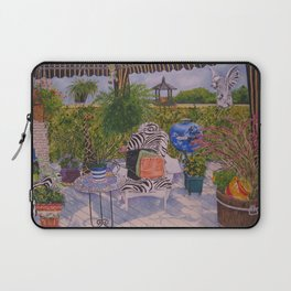 Garden Deck With Blue Barbecue Laptop Sleeve