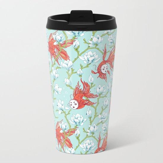 Goldfish, Mask and Magnolia Pattern Metal Travel Mug