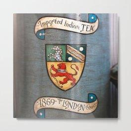 vintage tea jar coat of arms london Metal Print