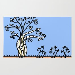 Strong Roots - Blue Mustard Yellow Rug