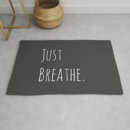 Just Breathe | Relax Grey and White Simple Handwriting Typography Rug