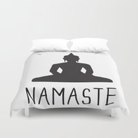 namaste Duvet Covers featuring NAMASTE by MantiniDesign