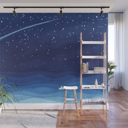 Falling star, shooting star, sailboat ocean waves blue sea Wall Mural