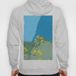 Flowers, abstract photography digital, blue green yellow Hoody