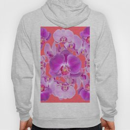 Pink & Purple Orchids Coral Colored Art Patterns Hoody