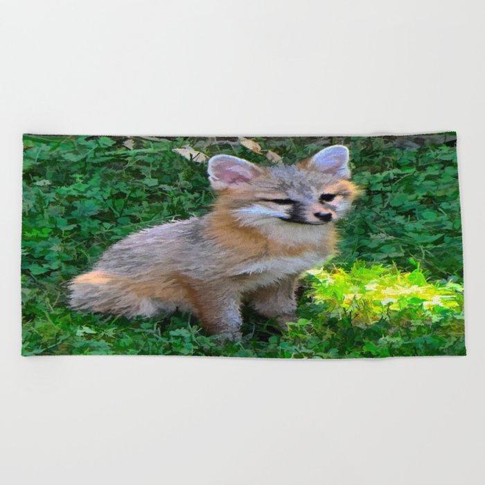 Little Grey Fox Beach Towel