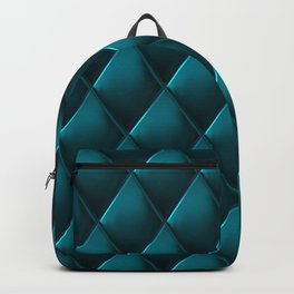 Deep Teal Polished Quilted Leather Padding Backpack
