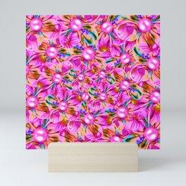 Abstract sewn pink flowers Mini Art Print