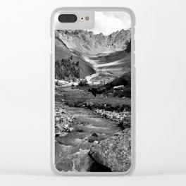 verpeil valley cows river mountains kaunertal tirol austria europe black white Clear iPhone Case